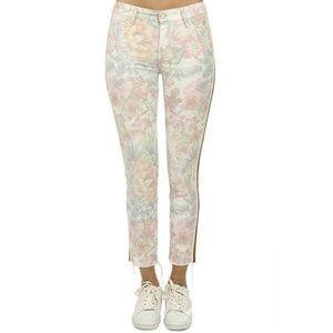 Mother Pastel Floral Looker Ankle Fray Skinny Jean